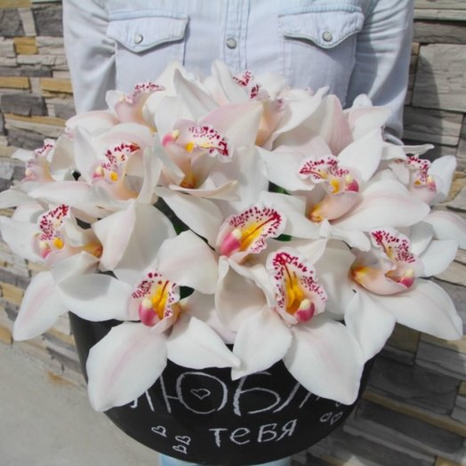 Коробка орхидея: букеты цветов на заказ Flowwow