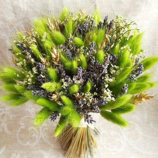 """Букет из сухоцветов """"Зеленая лужайка"""""""