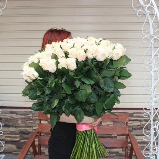 Розы кремовые 51шт: букеты цветов на заказ Flowwow