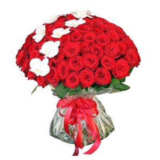 101 Prestige роза 70см с орхидеей уже в воде словно вазе
