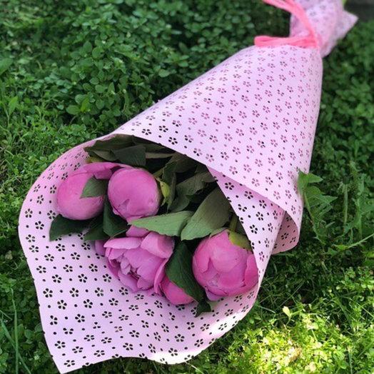 5 пионов комплимент: букеты цветов на заказ Flowwow