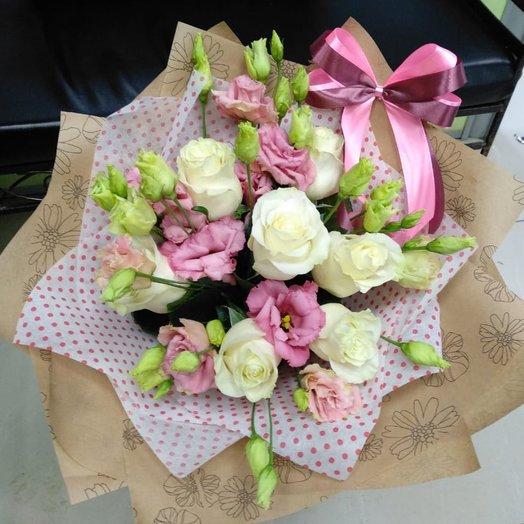 7 белых роз с эустомой. Код 180087: букеты цветов на заказ Flowwow