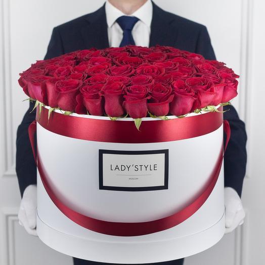 Эквадорские розы в шляпной коробке Grand