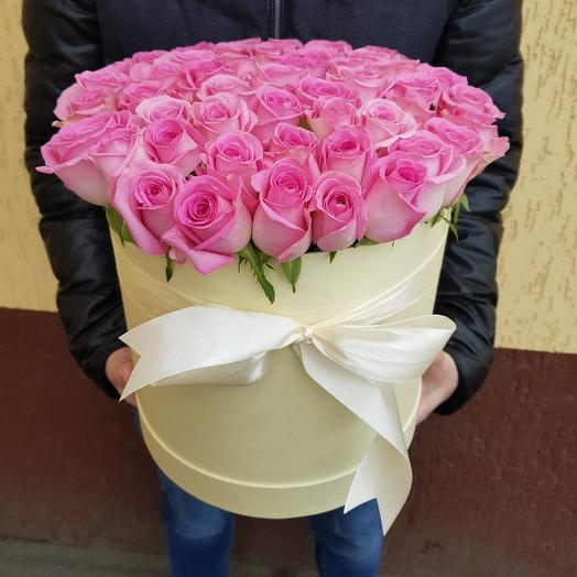Коробка из роз. 51 розовая роза: букеты цветов на заказ Flowwow