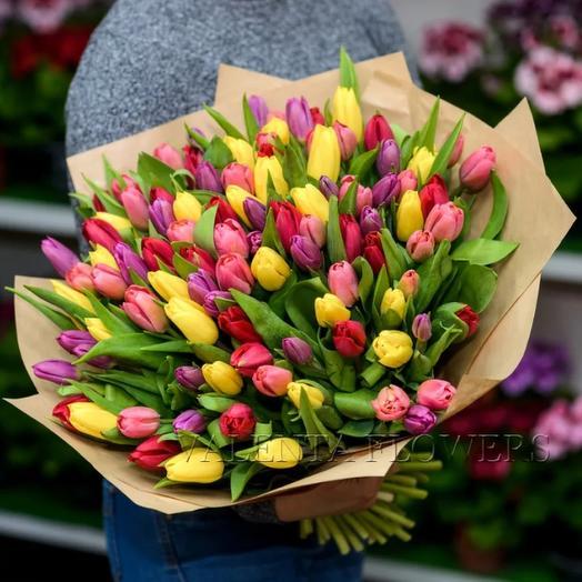 Букет из тюльпанов микс: букеты цветов на заказ Flowwow