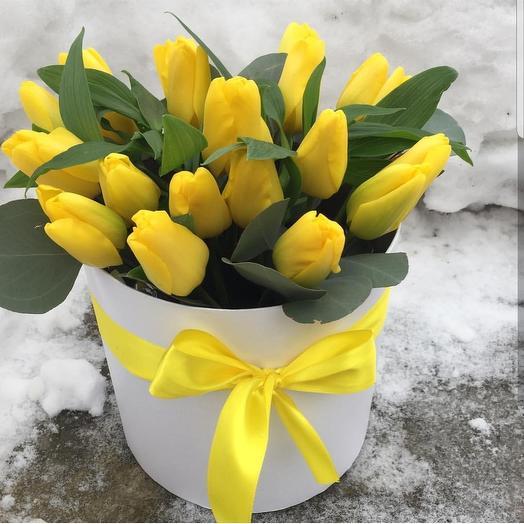25 тюльпан в коробочке: букеты цветов на заказ Flowwow