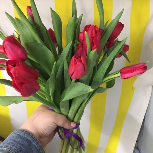 Тюльпаны красные 15 шт: букеты цветов на заказ Flowwow