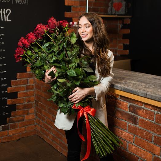 51 роза высотой 90 см от всего сердца