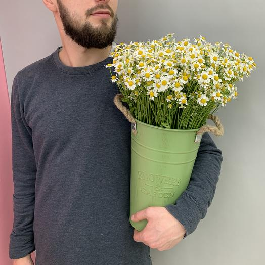 Кашпо «Летние ромашки»: букеты цветов на заказ Flowwow