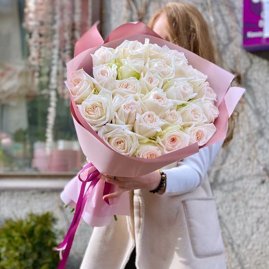 Пионовидные розы «White O Hara» 25 штук