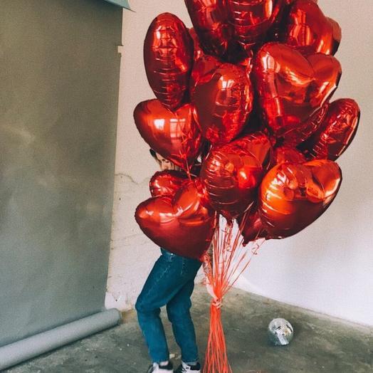 Облако из 20 фольгированных сердец: букеты цветов на заказ Flowwow
