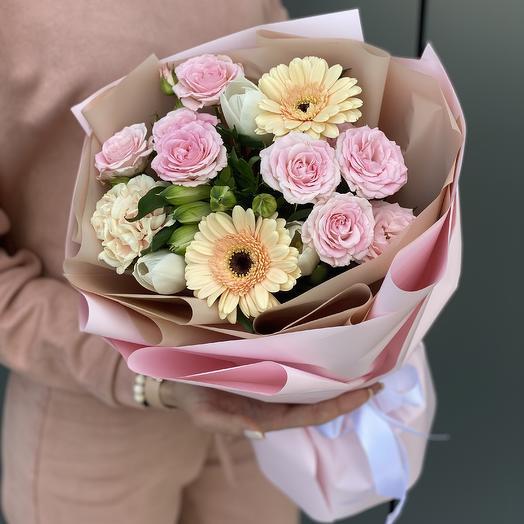 A bouquet of gerbera daisies, spray roses, tulips and alstromeria Vivien