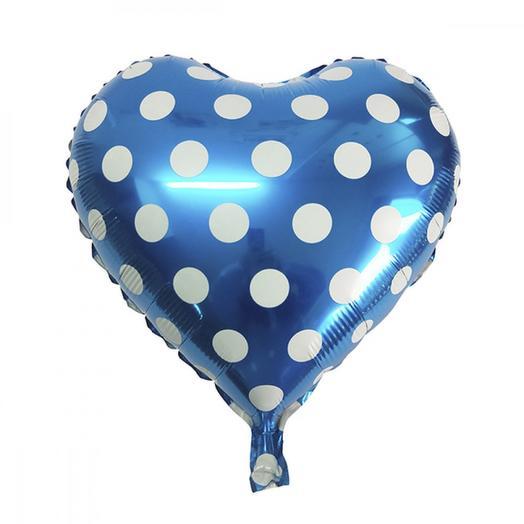Шар фольга сердце горошек blue