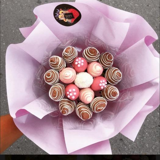 A bouquet of chocolate-covered strawberries small