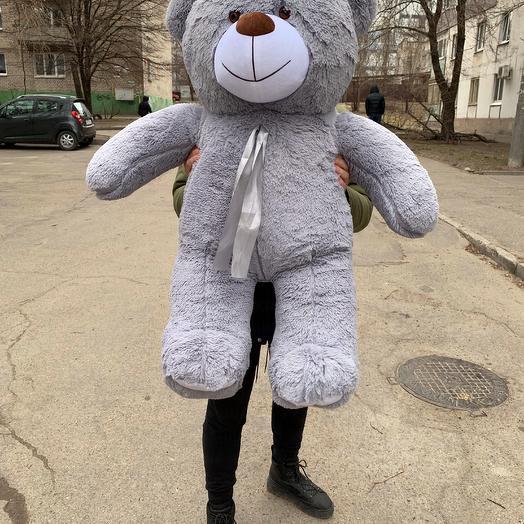 Плюшевый мишка 130 см серый