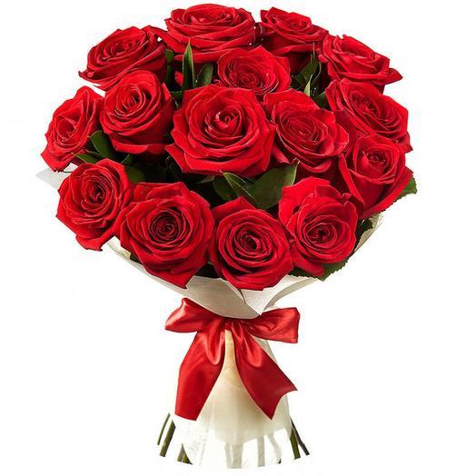 15 Красных роз с Рускусом в Упаковке
