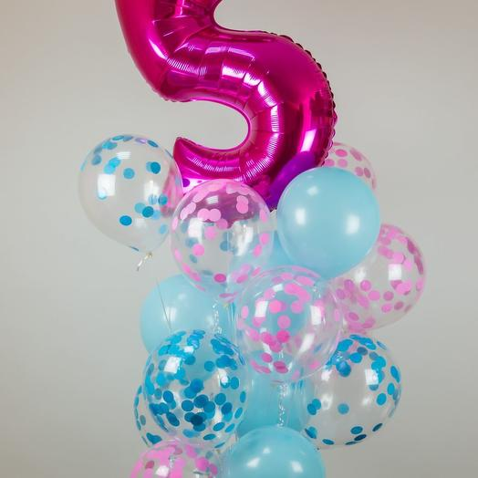 Микс шаров с конфетти и шар цифра 86 см