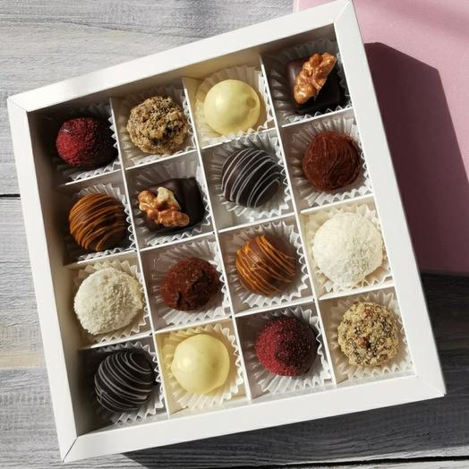 Cheese truffles (sweets), 16 pcs., assorted from 9 flavors