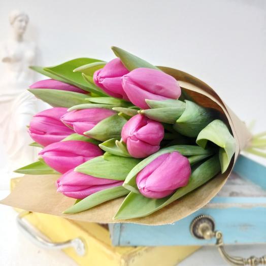 Девять розовых тюльпанов 50см