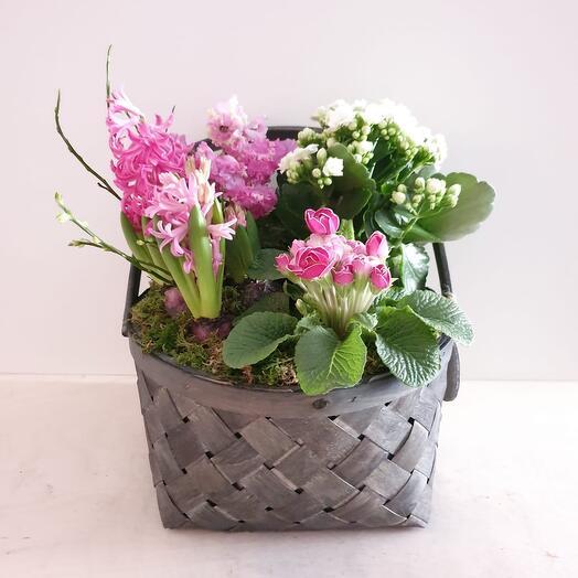 Корзина лукошко с цветами