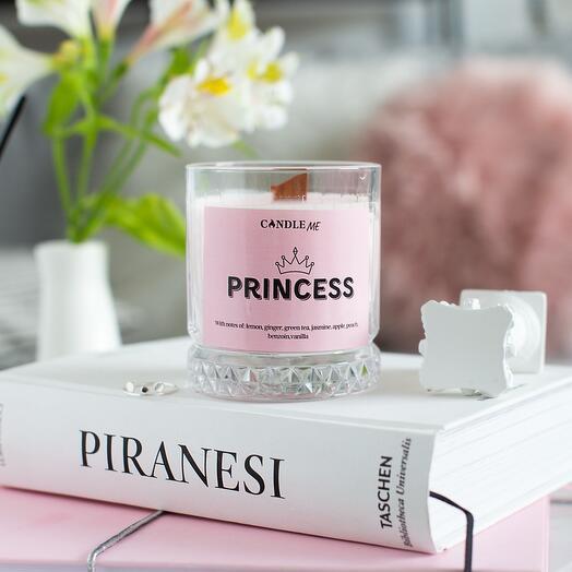 Свеча ароматическая PRINCESS / Принцесса - аромасвечи с блестками и ароматом: персика, жасмина, ванили, CANDLE ME
