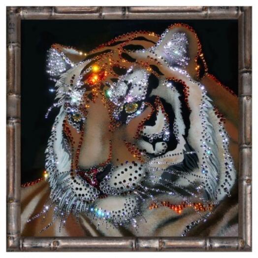 """Картина с кристаллами Swarovski """"Тигр (сила и мудрость) в багете"""""""