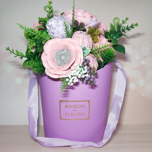 Букет из мыла ( пионы, розы, шишка, адониз)