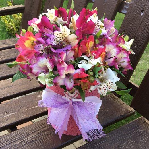 Цилиндр «Альстромерия»: букеты цветов на заказ Flowwow
