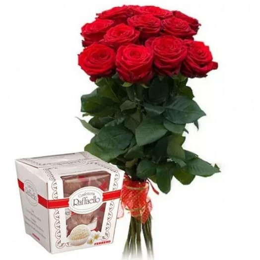 Set of 15 red roses and Raffaello 150 gr