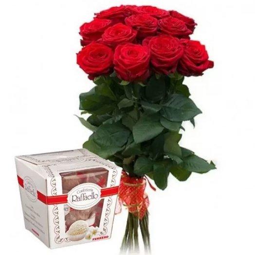 Набор 15 красных роз и Рафаэлло 150 гр