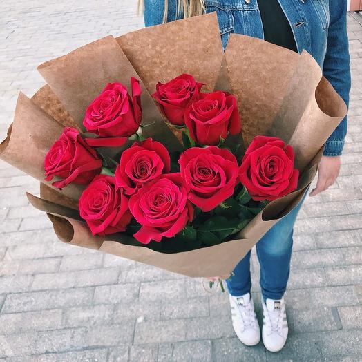 9 красных роз 60 см