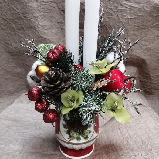 Новогодняя композиция в кружки: букеты цветов на заказ Flowwow