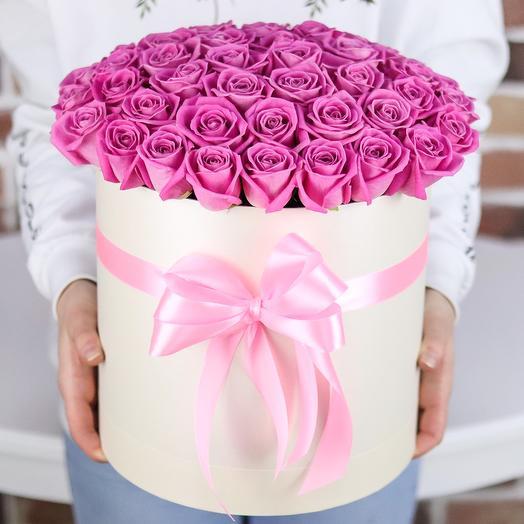 Коробки с цветами. Розы. Розовые. 51 шт. N121