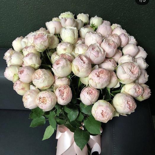 Моно из пионовидных роз