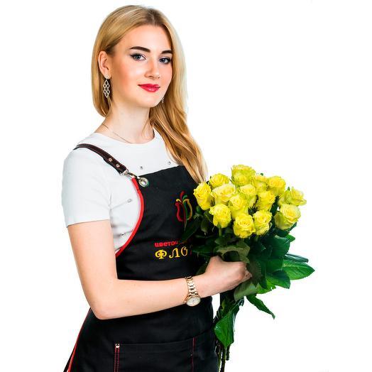 15 лимонных роз: букеты цветов на заказ Flowwow