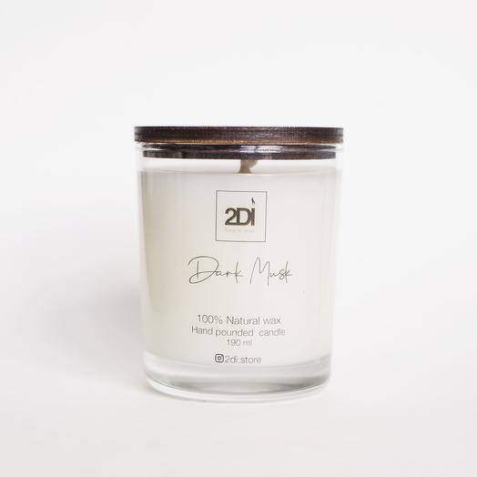 Натуральная аромасвеча ручной работы 250 мл, хлопковый фитиль - Dark Musk, Тёмный мускус
