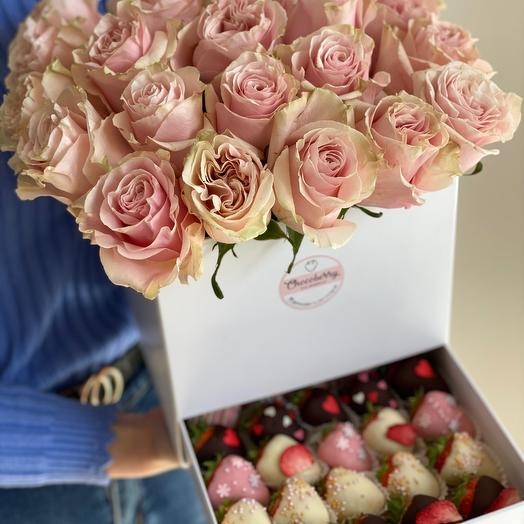 Коробка шкатулка с розами и клубникой