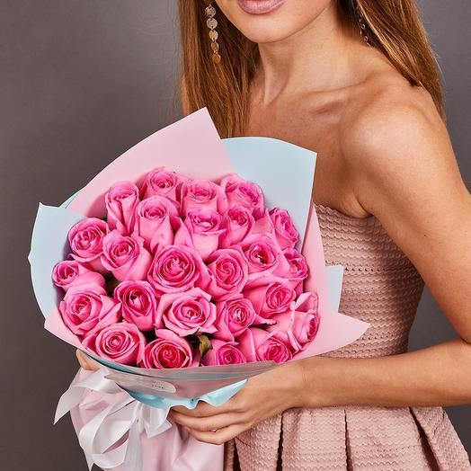 25 розовых роз Аква