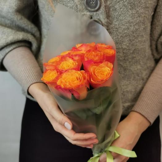 Роза 40 см оранж 11