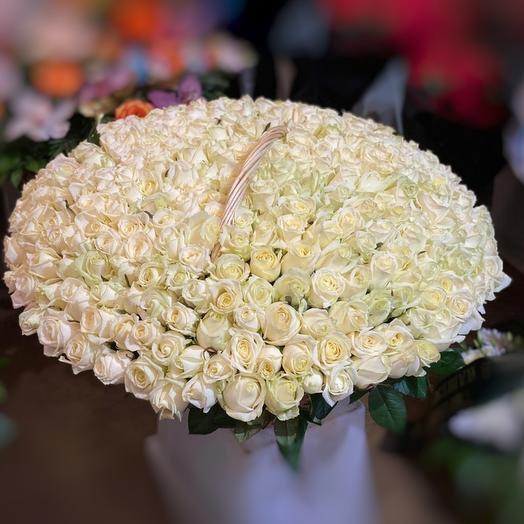 301 белоснежная роза в корзине