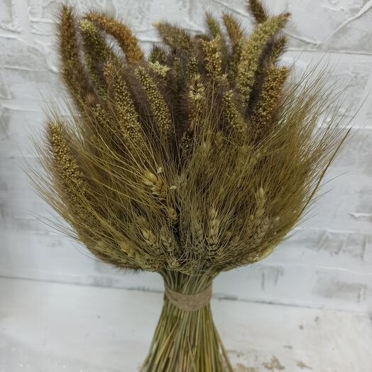Сухой букет из пшеницы и чумизы
