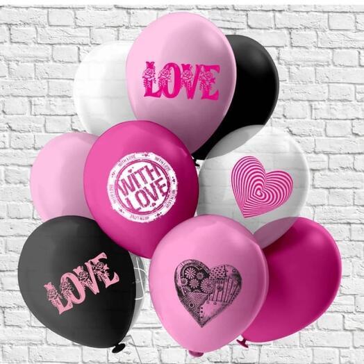 Flowers Lovers - шар латексный с принтом любовь набор 11 шт