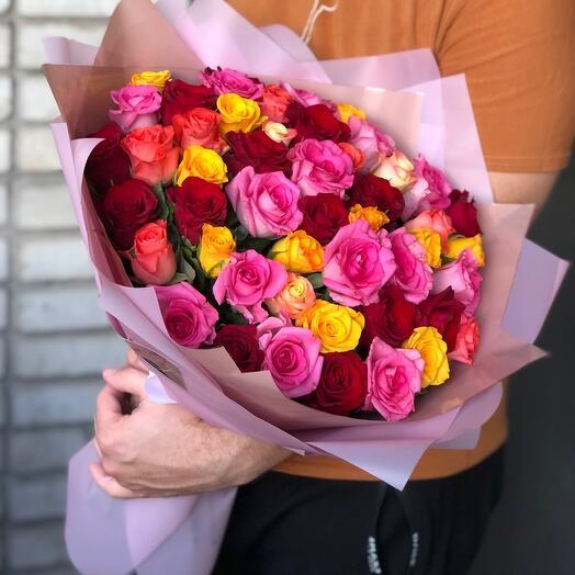 51 Роза « Яркое Настроение «