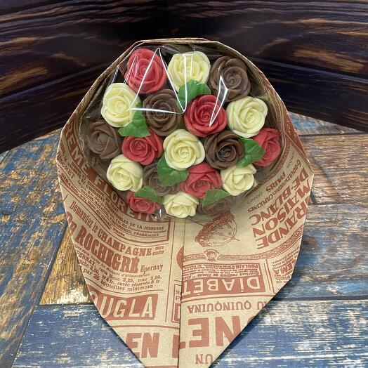 Букет из шоколадных роз (19 шт)