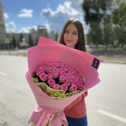 Букет из 51 розы Аква