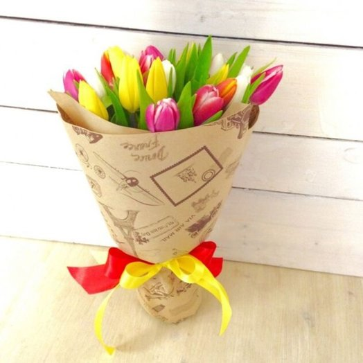 """Bouquet """"Spring gift"""" of multi-colored tulips. Code 170031"""