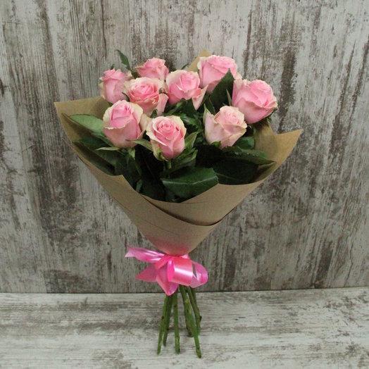 Букет из 9 розовых роз: букеты цветов на заказ Flowwow