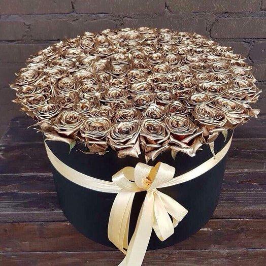 101 золотая роза в коробке