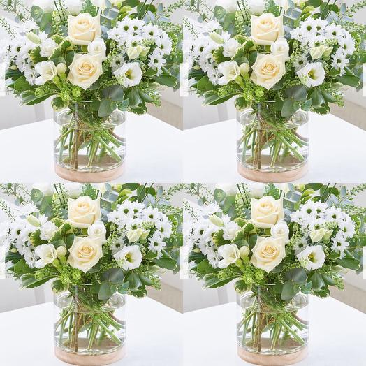 White bouquet with a vase: flowers to order Flowwow