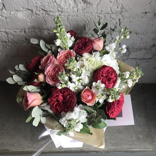 Садовые розы и Гортензия / 02: букеты цветов на заказ Flowwow